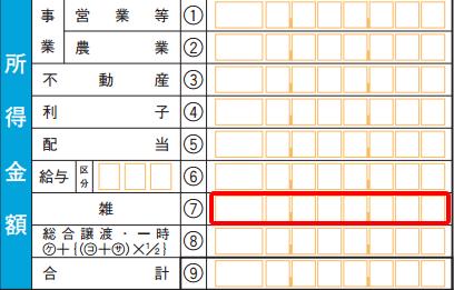 確定申告書Bの所得記入欄の画像