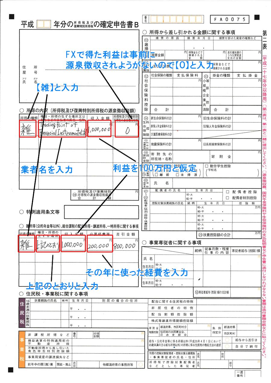 確定申告書Bの所得の内訳記入欄の画像