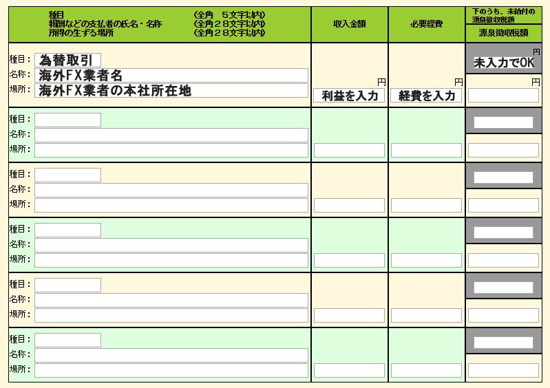 雑所得の詳細情報入力画面