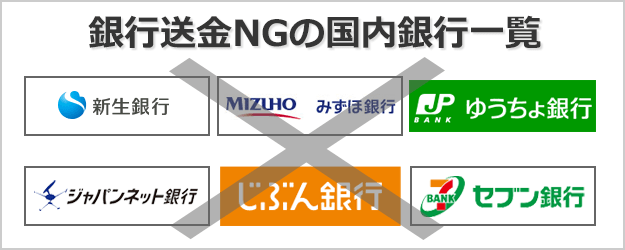 銀行送金NGの国内銀行一覧