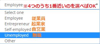 職業の選択肢の日本語表記バージョン