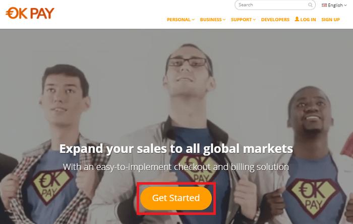 画面中央の「Get Started」クリックでOKPAYの口座開設スタート