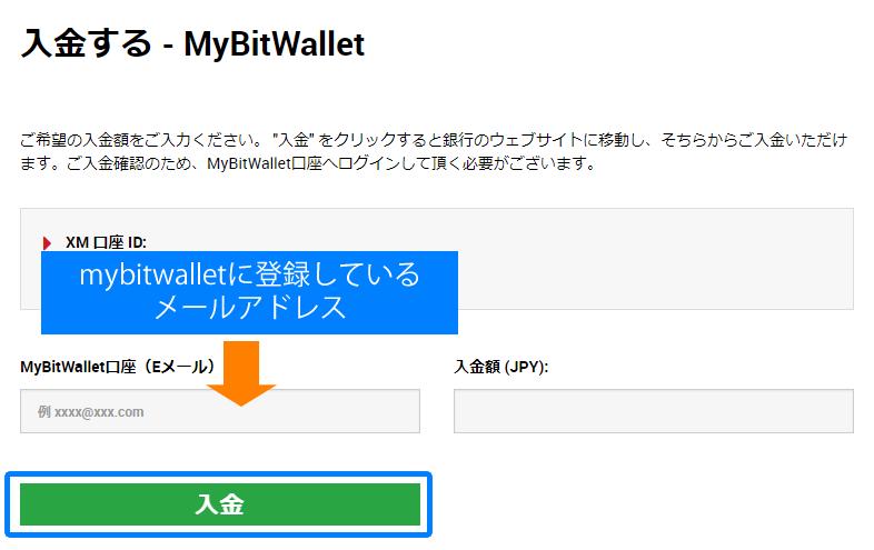 bitwalletに登録しているメールアドレスを記入