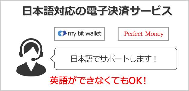 日本語対応の電子決済サービスはbitwalletとPerfect Money