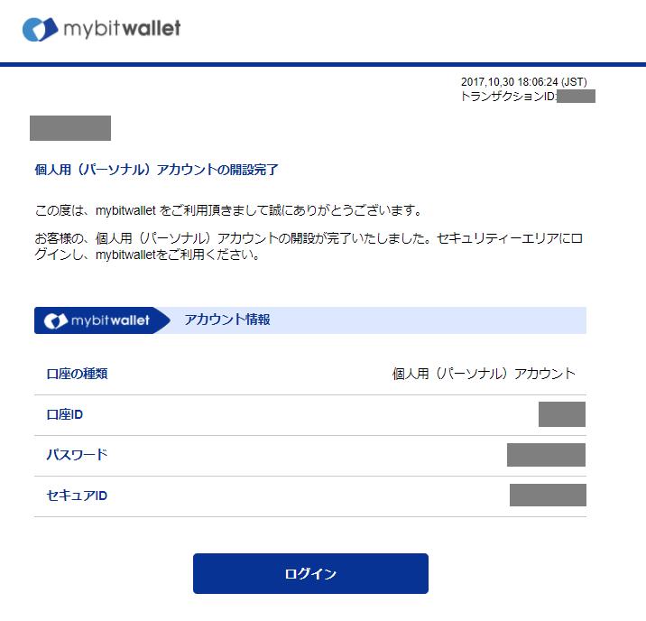 mybitwalletから届く個人用(パーソナル)アカウントの開設完了のメール