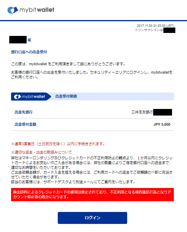 bitwalletから届いた出金受付完了メール