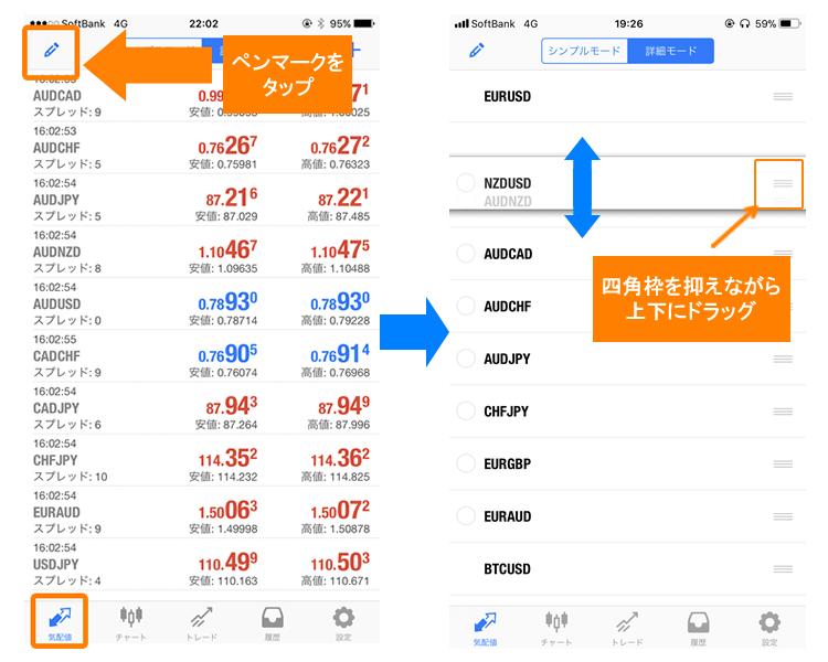 Mt4・MT5アプリの通貨ペアを並べ替える方法