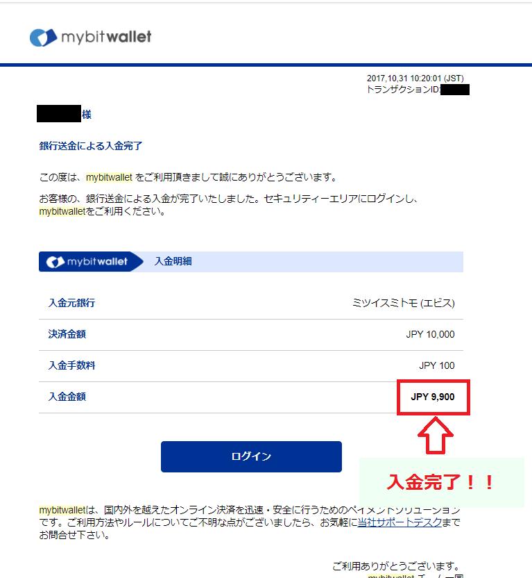 mybitwalletから届いた入金完了のメール