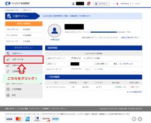 bitwalletのマイページで「口座への入金」をクリック