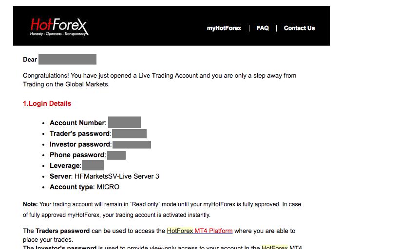 hotforexから届く口座のログイン情報メール