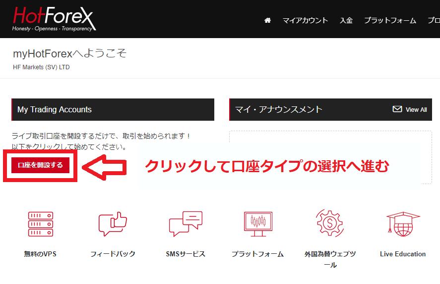 hotforexのマイページから「口座開設」ボタンをクリックする