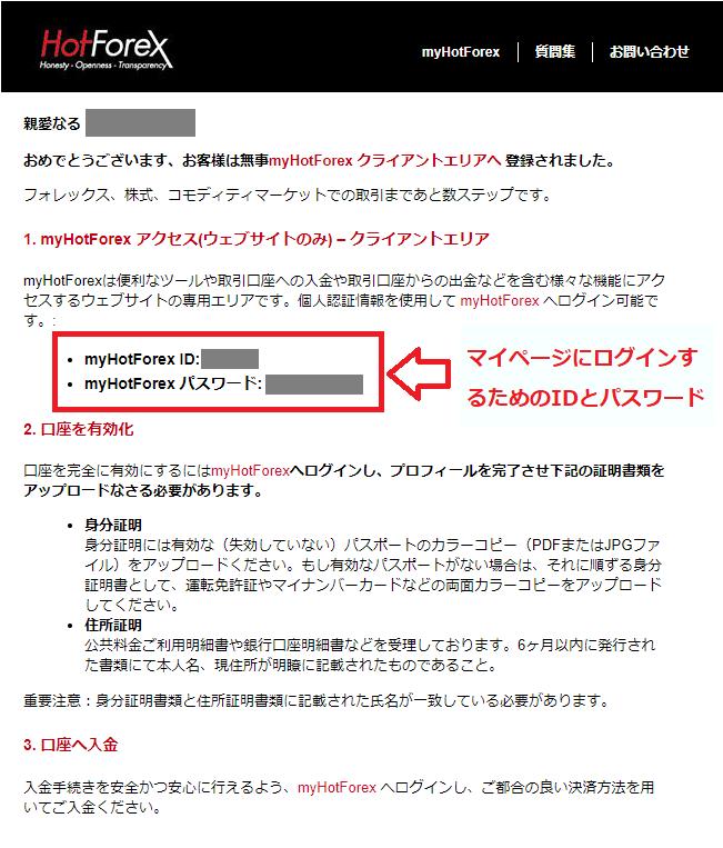 hotforexから届くマイページのIDとパスワードが記載してあるメール