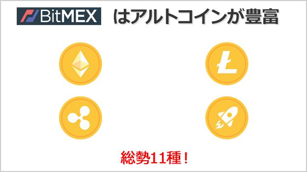 BitMEXの方が取引できるアルトコインの種類が豊富