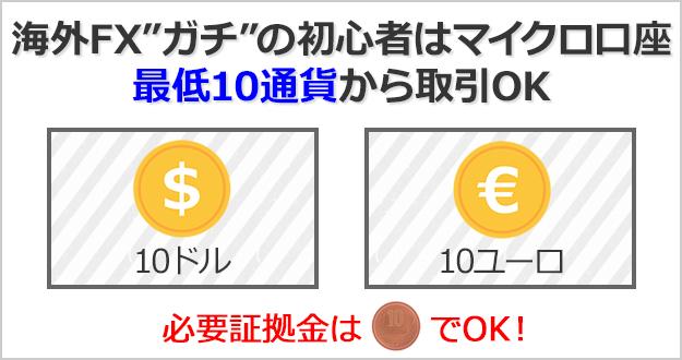 海外FXガチの初心者はマイクロ口座がおすすめ!最低10通貨から取引できる