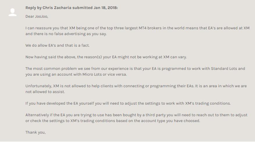 FPAに寄せられたクレームの口コミに対するXMの返信