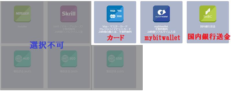 TitanFXの入金方法一覧画面