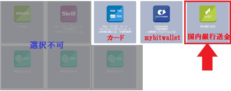 TitanFXの会員ページで「国内銀行送金」を選択