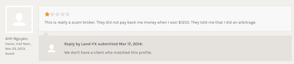 LAND-FXで1255ドルの利益が出金できなかったという書き込み