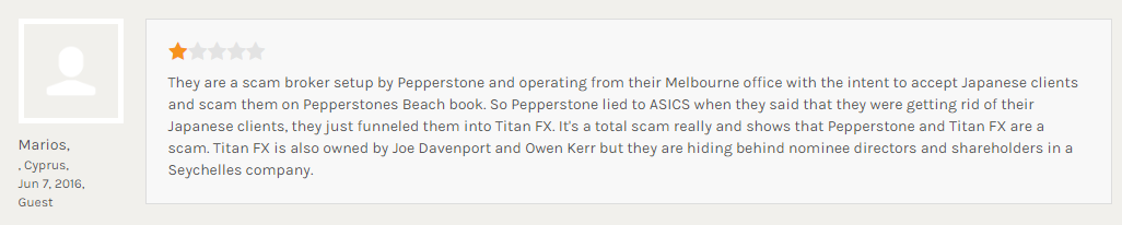「PepperStoneがASIC(オーストラリアの金融庁)に隠れて、日本人を受け入れているから詐欺だ」と主張する書き込み
