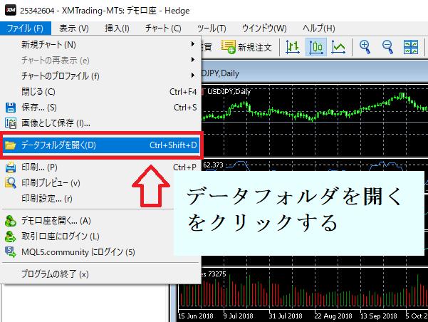 MT5を起動して『ファイル→データフォルダを開く』の順でクリック
