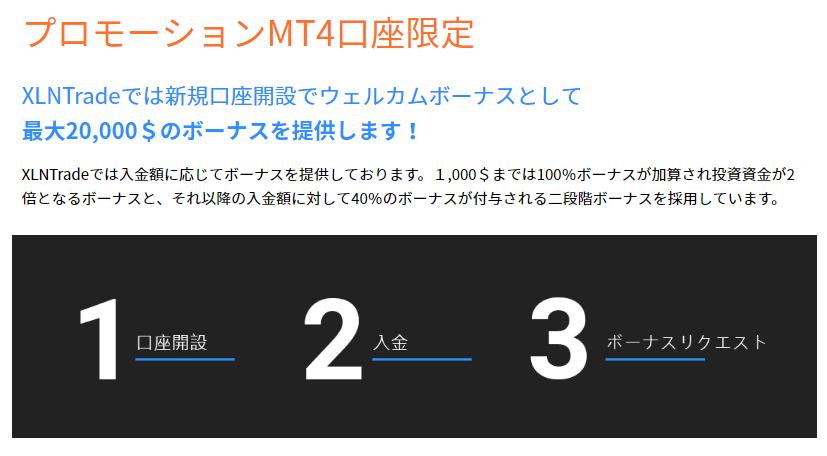 XLNTradeはMT4口座でも100%入金ボーナスがもらえる