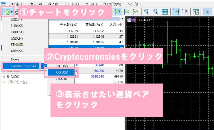仮想通貨のチャートをMT5に表示させる手順