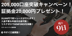 gemforexの9月の口座解説ボーナス2万円